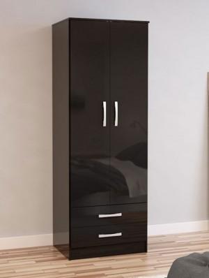 Links High Gloss Black 2 Door 2 Drawer Wardrobe