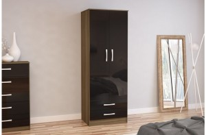 Links Walnut/ High Gloss Black 2 Door 2 Drawer Robe