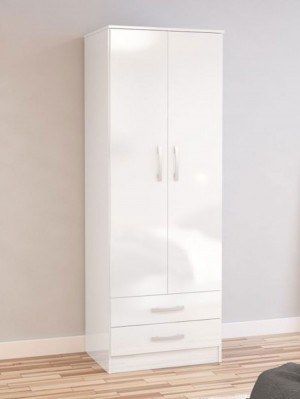 Links High Gloss White 2 Door 2 Drawer Wardrobe