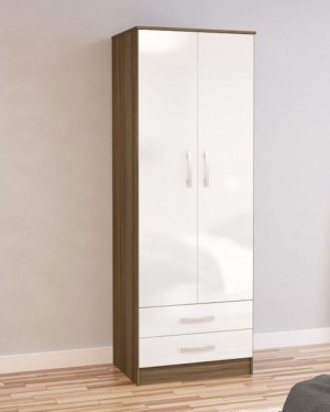Links Walnut And High Gloss White 2 Door 2 Drawer Wardrobe