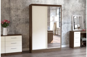 Links Walnut/High Gloss Cream 2 Sliding Door Robe