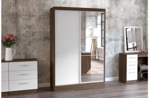 Links Walnut And High Gloss White Sliding Door Robe