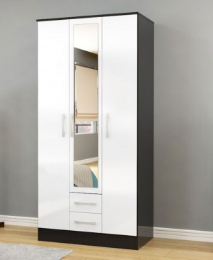 Links Black/ White 3 Door 2 Drawer Wardrobe