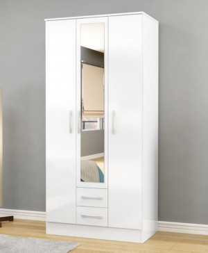 Links High Gloss White 3 Door 2 Drawer Wardrobe