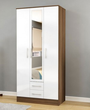 Links Walnut And High Gloss White 3 Door 2 Drawer Wardrobe