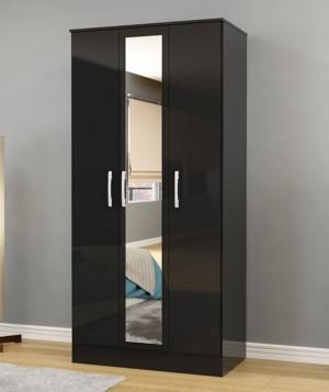 Links High Gloss Black 3 Door Wardrobe