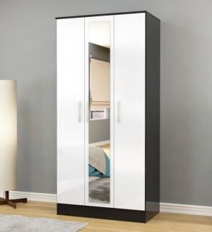 Links Black/ High Gloss White 3 Door Mirror Wardrobe