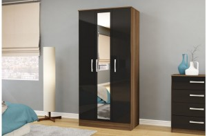 Links Walnut/ Black High Gloss 3 Door Robe
