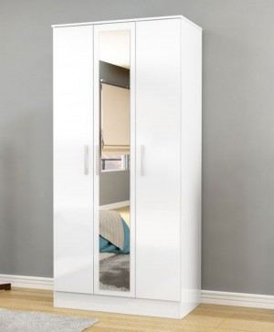 Links High Gloss White 3 Door Wardrobe