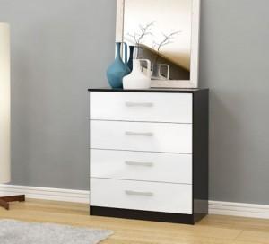 Links Black/High Gloss White 4 Drawer Chest