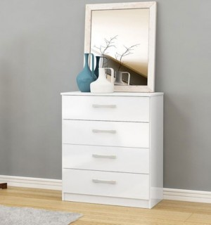 Links White High Gloss 4 Drawer Chest