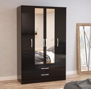 Links High Gloss Black 4 Drawer Wardrobe