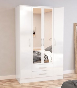 Links High Gloss White 4 Drawer Wardrobe