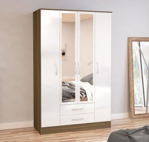 Links Walnut And High Gloss White 4 Drawer Wardrobe