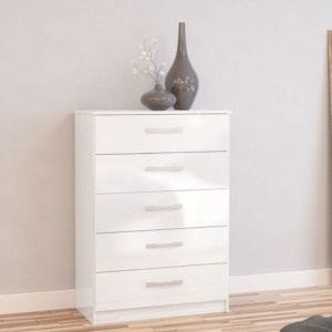 Links High Gloss White 5 Drawer Chest