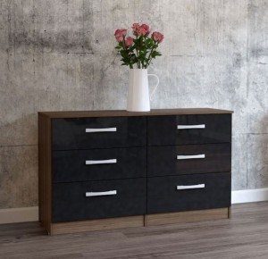Links Walnut/ High Gloss Black 6 Drawer Chest