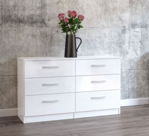 Links High Gloss White 6 Drawer Chest