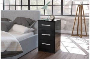 Links High Gloss Black 3 Drawer Bedside