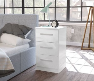 Links High Gloss White 3 Drawer Bedside