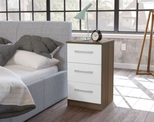 Links Walnut And High Gloss White 3 Drawer Bedside