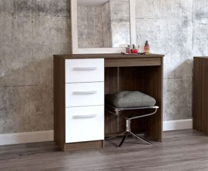 Links Walnut And High Gloss White Bedroom Set