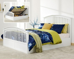 Madrillo White High Foot Bed Ottoman Frame