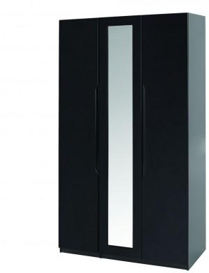 Orient Black Gloss Super Size 3 Door Robe With Mirror