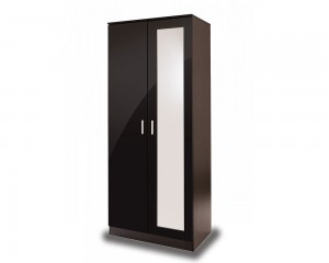 Otto Black High Gloss 2 Door Mirror Robe