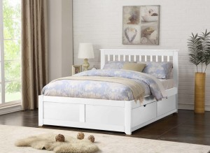 Petra White Double Bed Frame With 2 Drawers