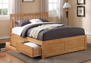 Petra Oak Kingsize Bed Frame With 2 Drawers