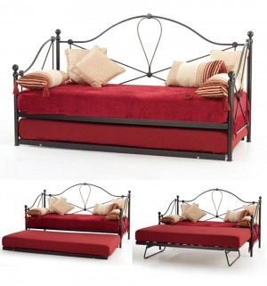 Small Single Lyon Black Day Bed With Visitor Frame
