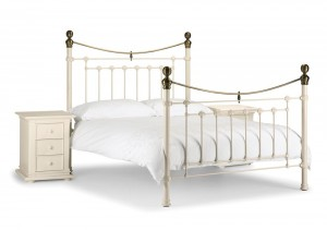Vicky Stone White Double Bed Frame