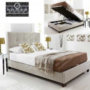 Walker Oatmeal Fabric Super Kingsize Ottoman Storage Bed Frame