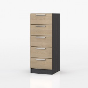 Waterfall Graphite And Oak 5 Drawer Tallboy