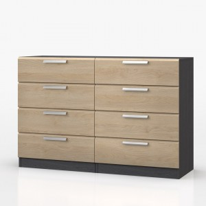 Waterfall Graphite And Oak 8 Drawer Chest