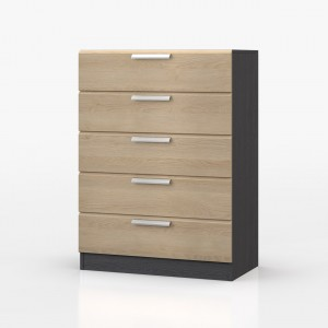 Waterfall Graphite And Oak 5 Drawer Chest