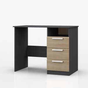 Waterfall Graphite And Oak 3 Drawer Dressing Table