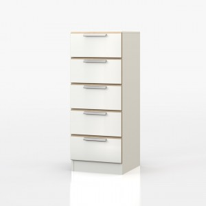 Waterfall Oak And White 5 Drawer Tallboy
