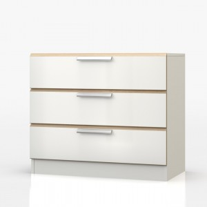 Waterfall Oak And White 3 Drawer Chest