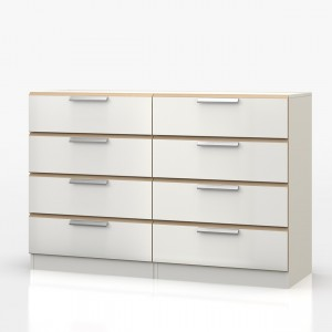 Waterfall Oak And White 8 Drawer Chest