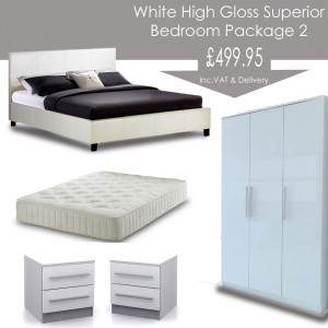 White High Gloss Superior Bedroom Landlord Package 2