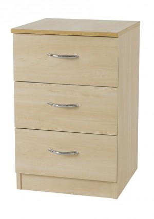 Woodgrain 3 Drawer Bedside