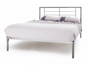 Thor Black Nickel Double Bed Frame