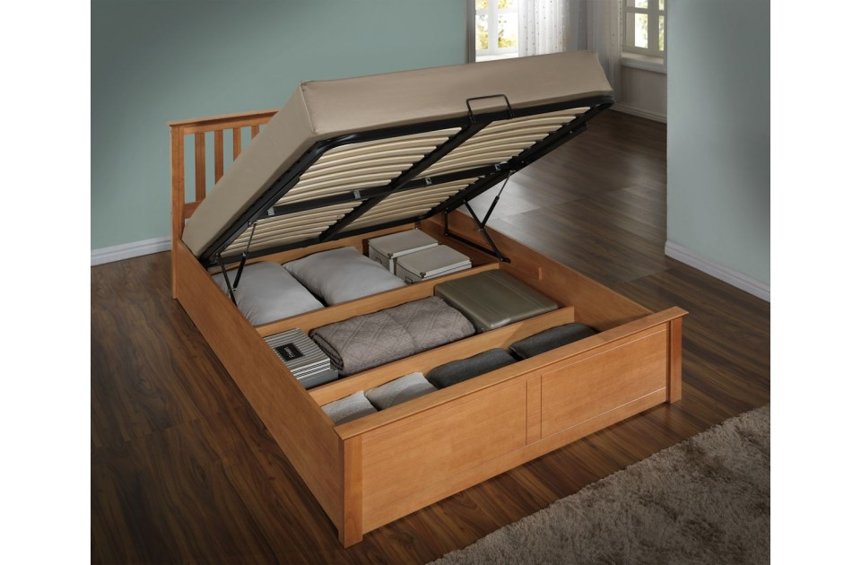 Flame Oak Three Quarter Ottoman Storage Bed Frame