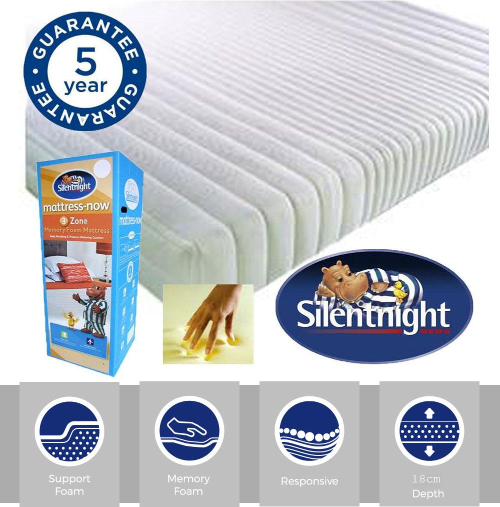 Medium Euro King Silentnight 3 Zone Memory Foam Rolled Mattress White Made in the UK