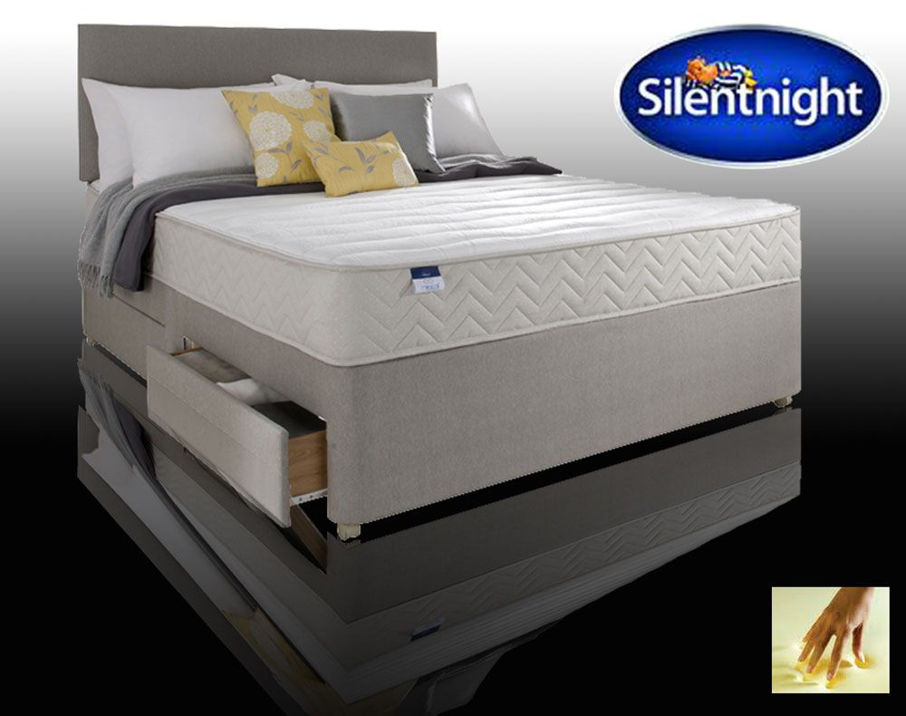 Silentnight seoul double 4 drawer divan bed with memory for Single divan with drawers and headboard