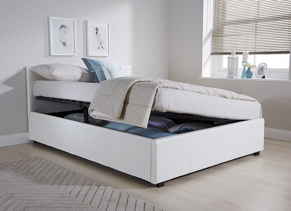 Side Lift Ottoman Storage King Size Bed Frame White Faux
