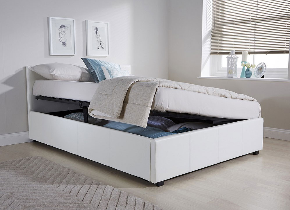 Side Lift Ottoman Storage Double Bed Frame In White Faux