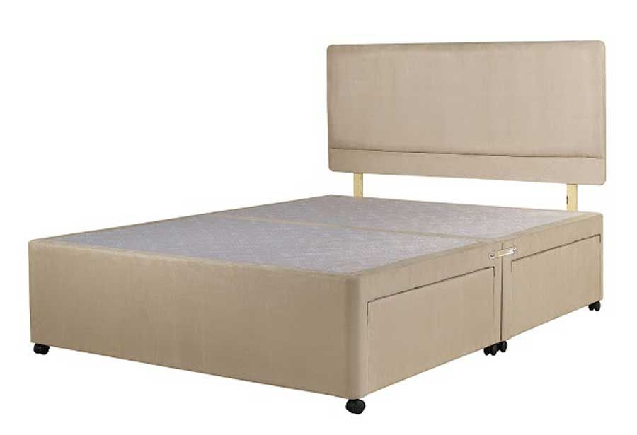 Superior kingsize divan bed base stone fabric for Divan bed base and headboard